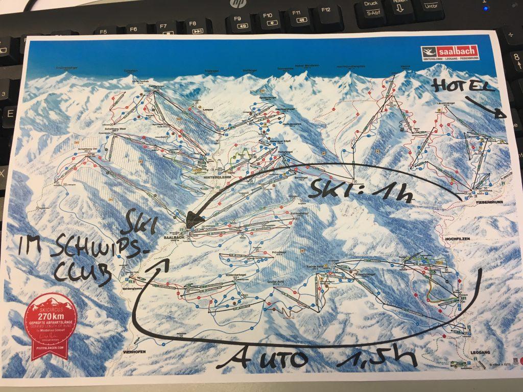 Mein Dilemma als Grafik... 1h mit Ski, 1,5 h mit dem Auto außenrum.