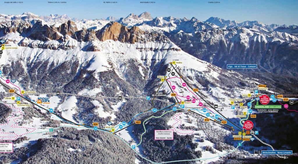Mitten im Herzen des Skiegebiets Carezza: Der Franzin-Lift Nr. 407.
